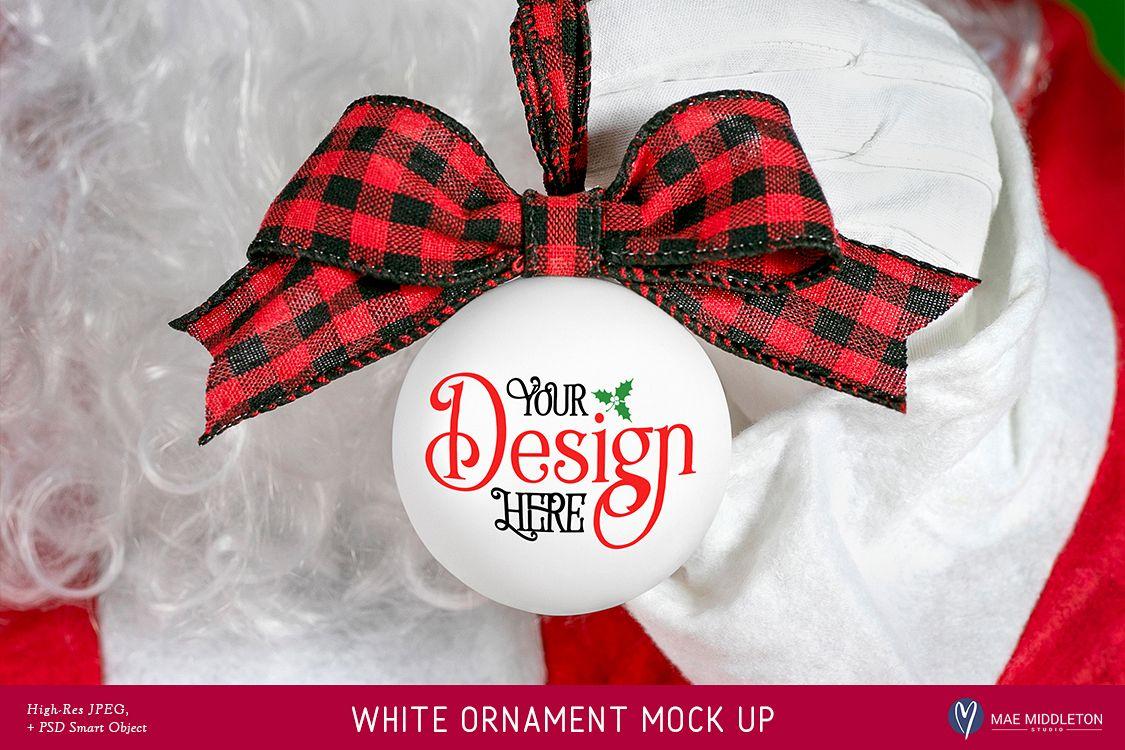 Christmas Mock up - Santa's White Ornament example image 1