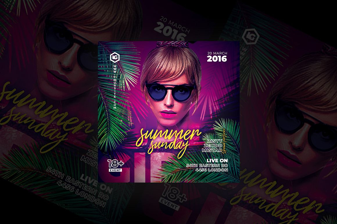 Summer Sunday Party Flyer example image 1