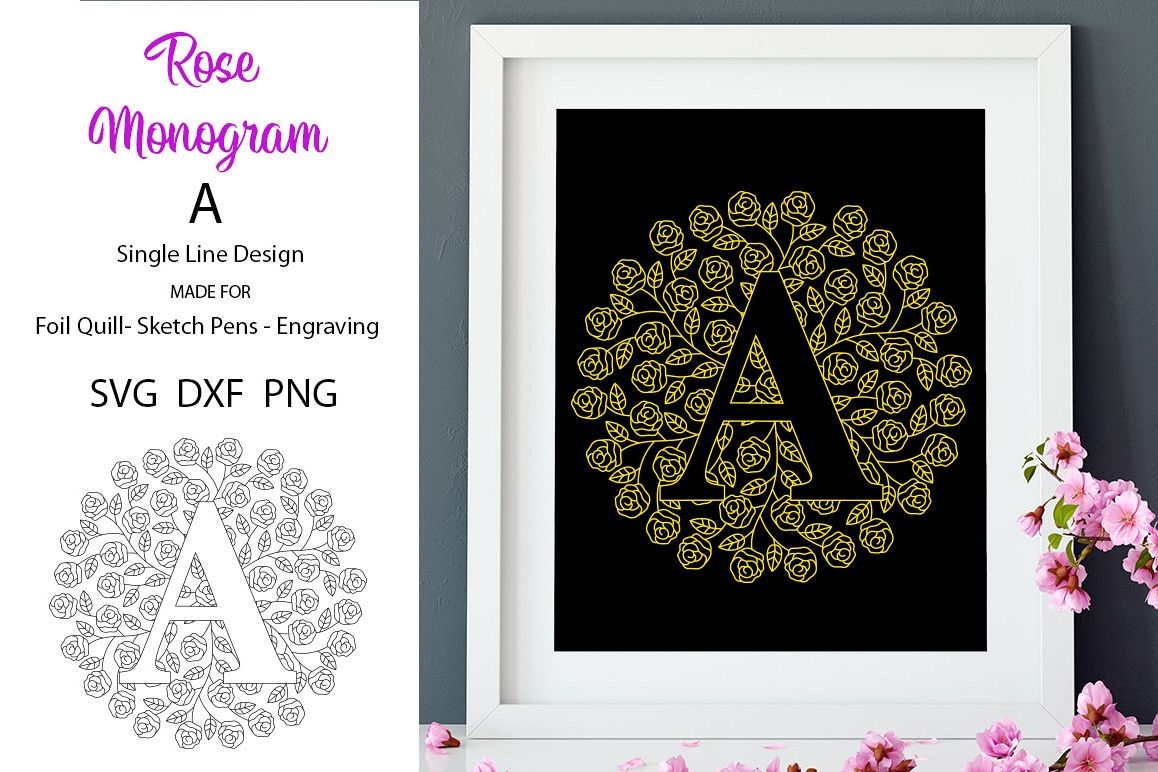 Monogram A Foil Quill|Single Line|Mandala example image 1