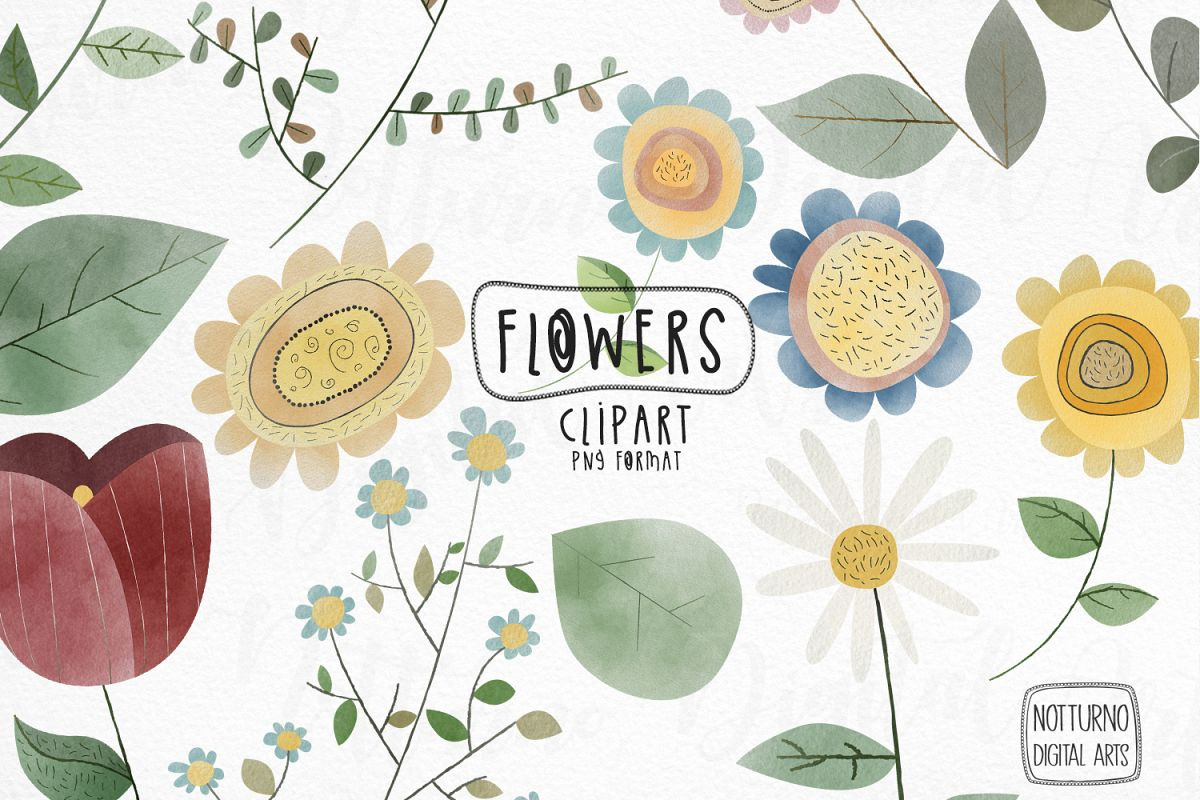 Watercolor Flowers Clipart set example image 1