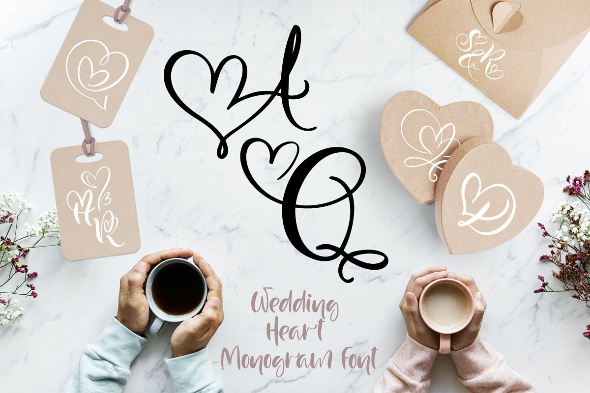 Wedding Heart Monogram Font example image 1