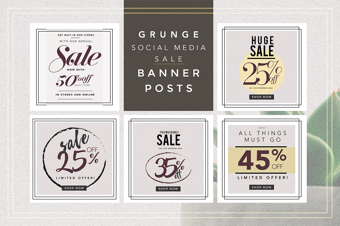 GRUNGE Social media sale banner pack example image 1