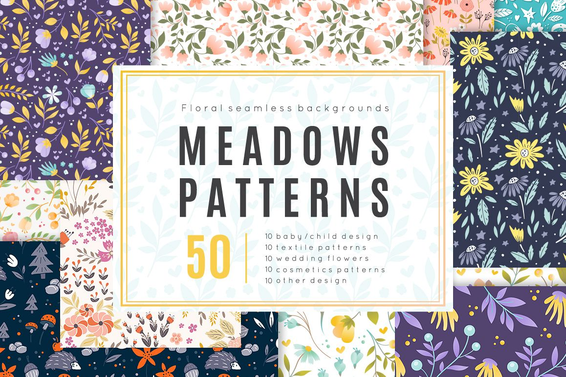 Meadow - 50 vector seamless patterns example image 1