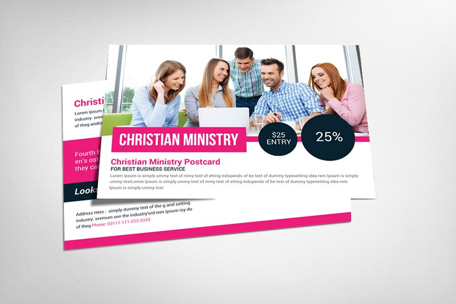 Christian Ministry Postcard Template example image 1