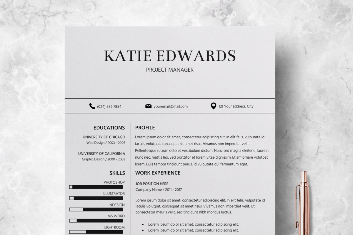 resume cv template cover letter katie edwards