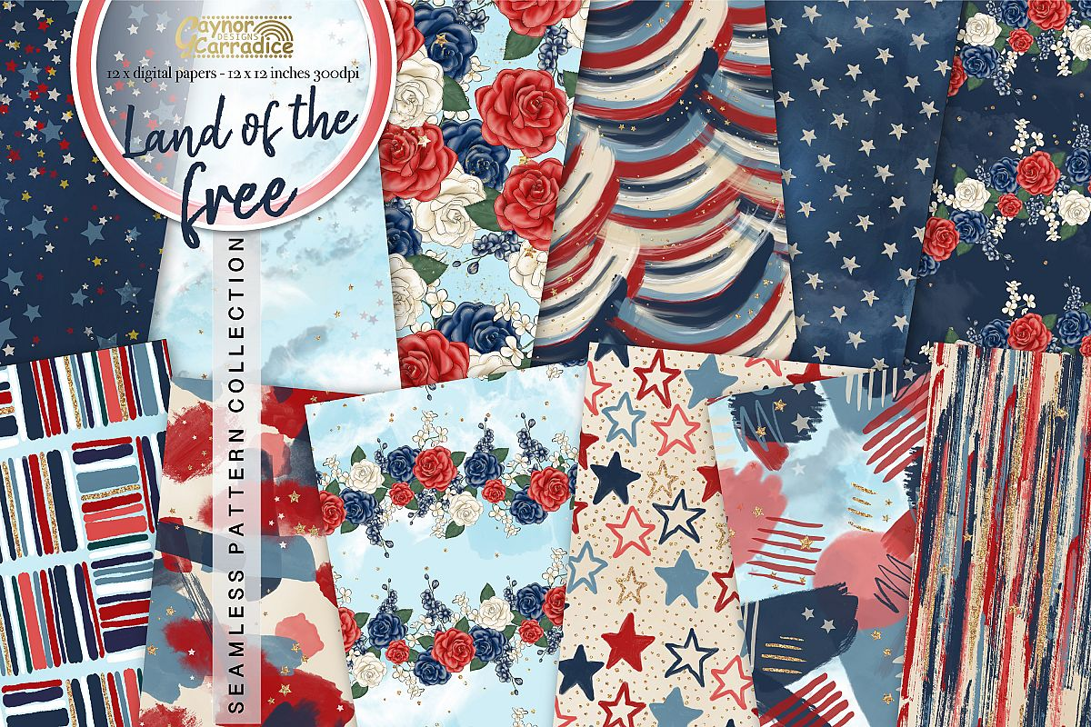 4th of July seamless pattern collection example image 1