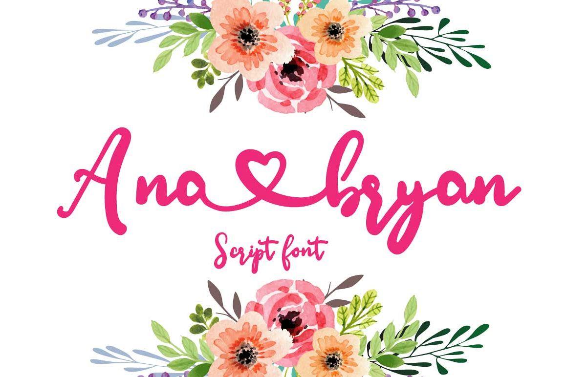 Ana Bryan| Cute heart Script Font example image 1