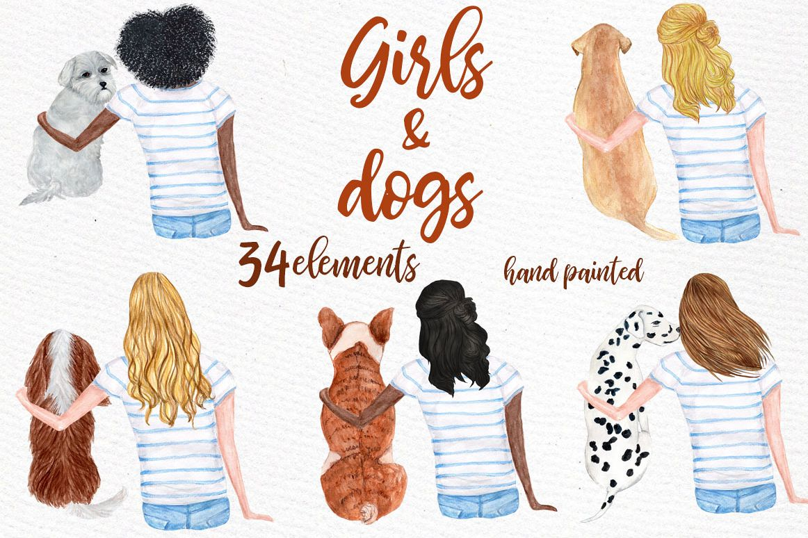 Watercolor Girls with Dogs clipart example image 1