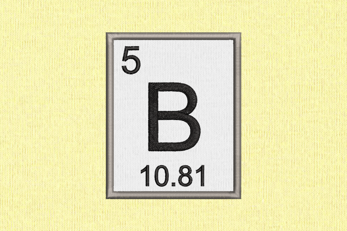 Periodic Table Element 5 B Boron Applique Embroidery example image 1