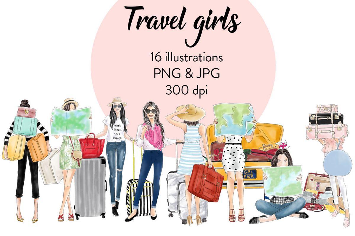 Travel girls fashion clipart example image 1