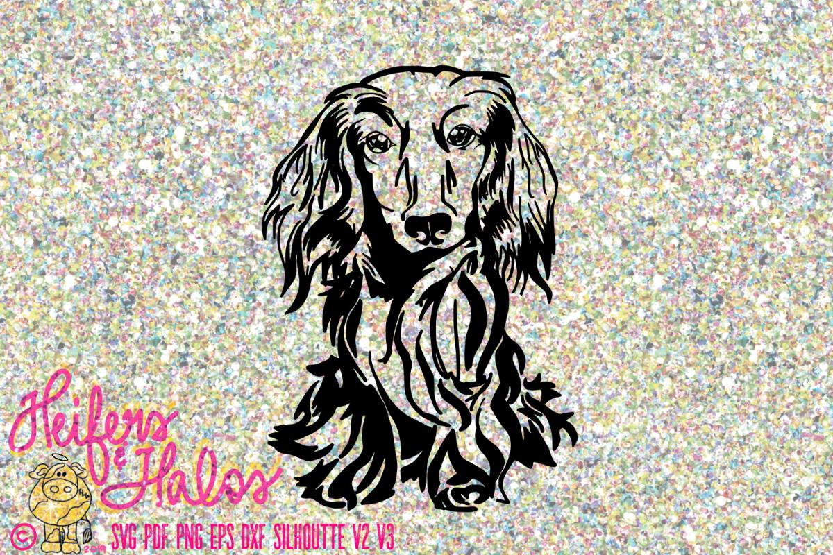 Dachshund long hair doxie dog hand drawin example image 1