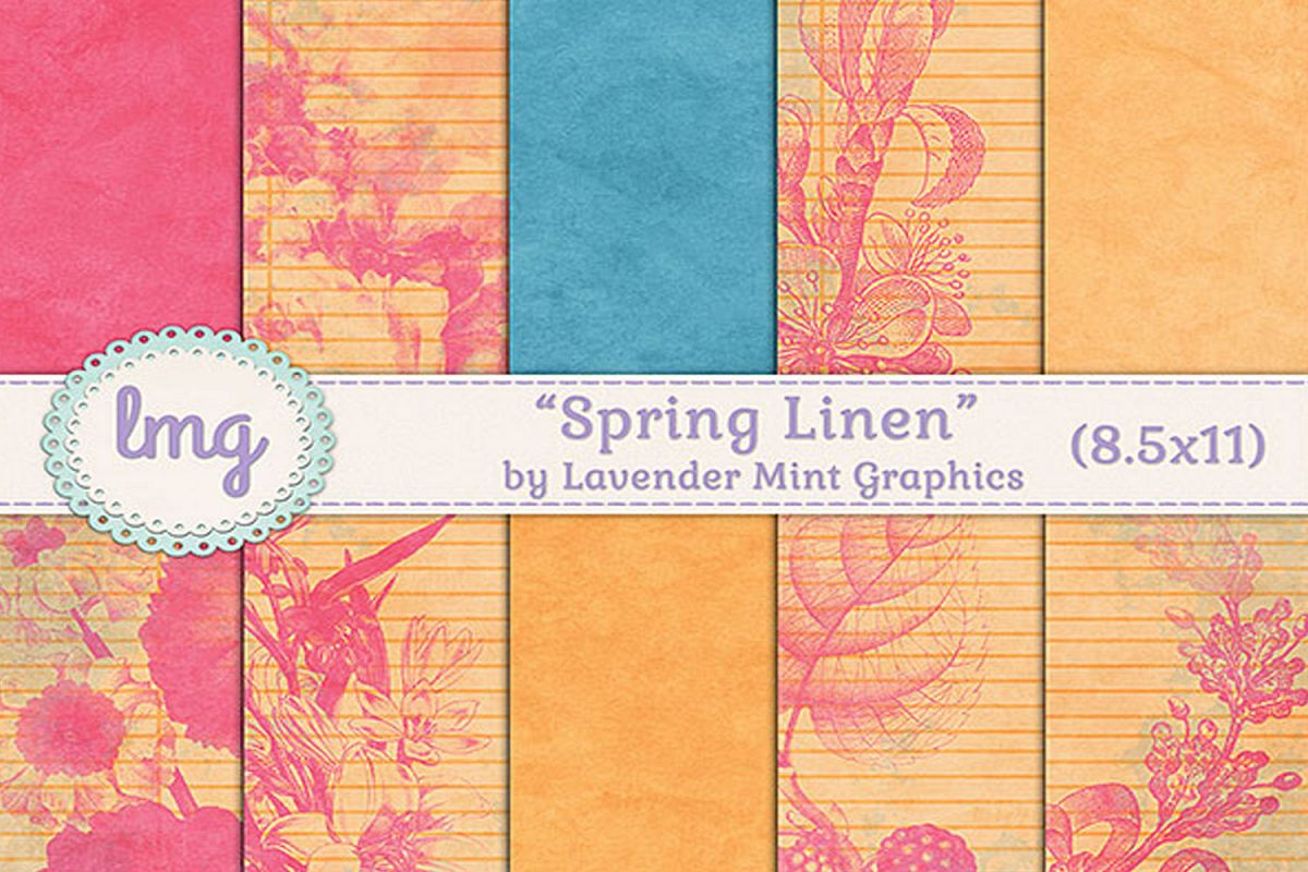 Spring Linen Journal Size Digital Scrapbooking Papers example image 1
