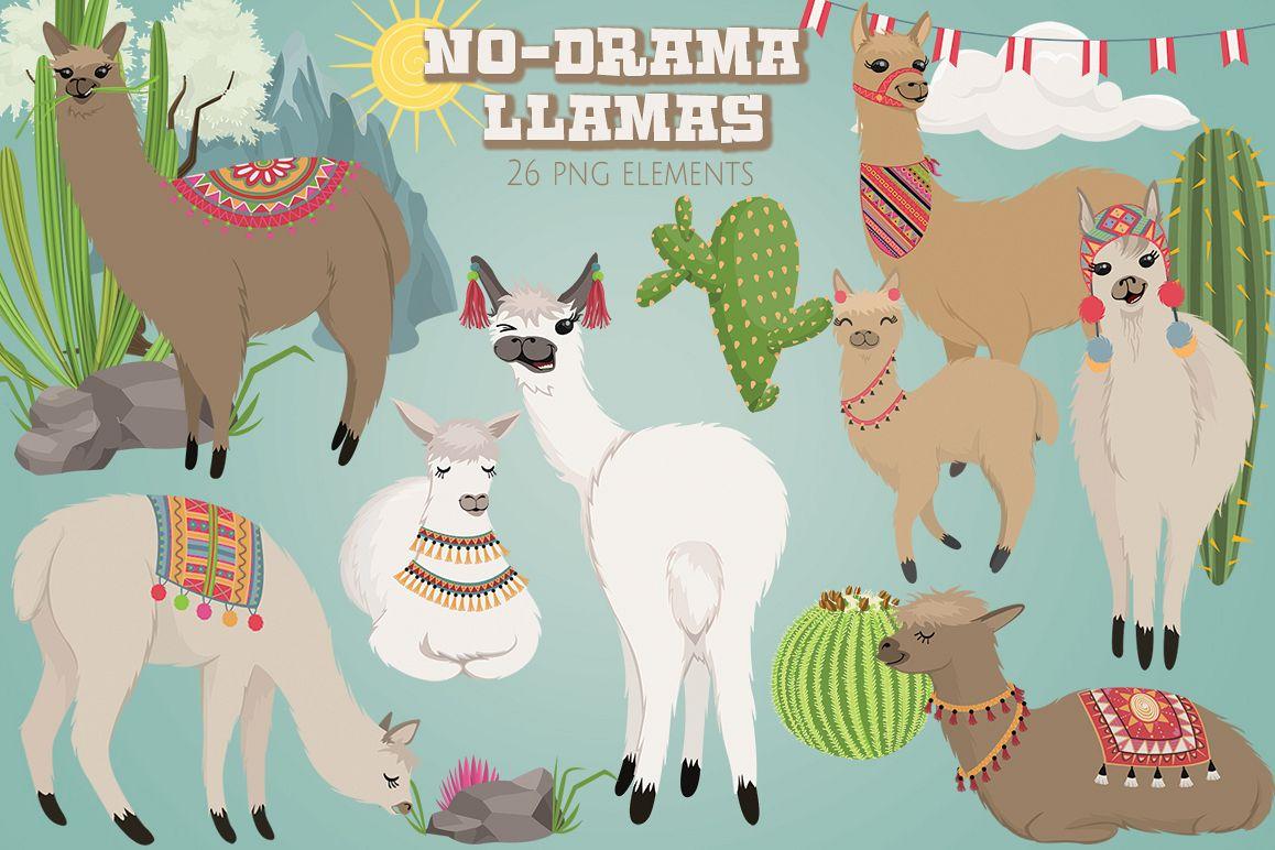 No Drama Llamas Graphics Set example image 1