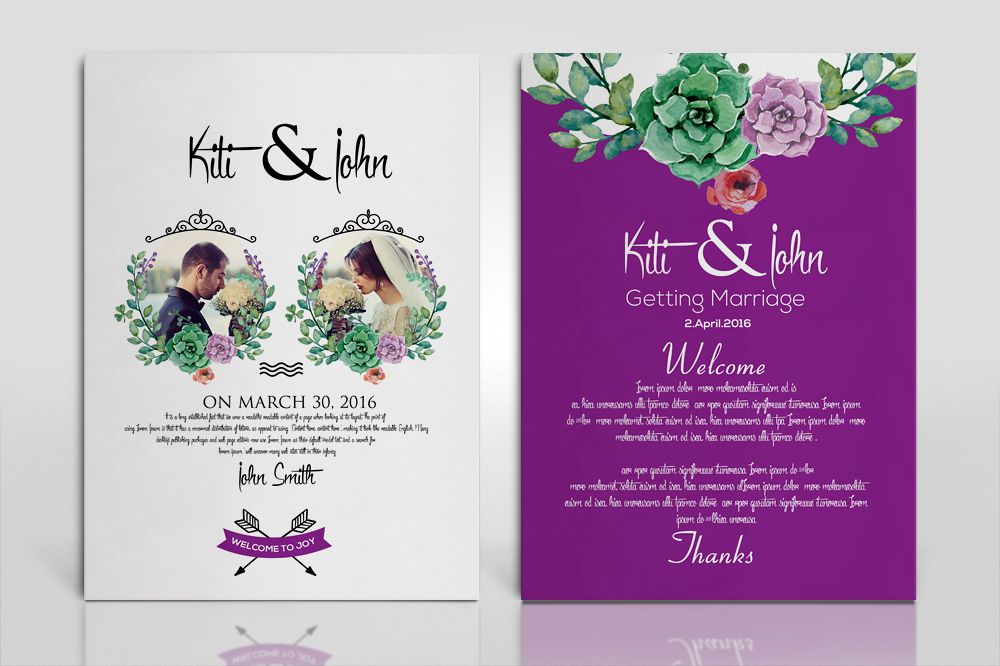 Double Sided Floral Wedding Invitation Card