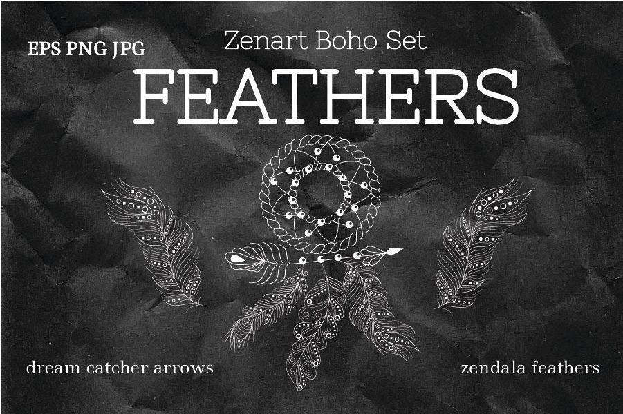Zenart Boho Feathers Set example image 1