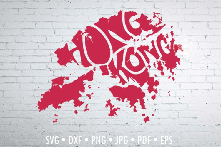 Hong Kong Word Art, Svg Dxf Eps Png Jpg, map shape example image 1