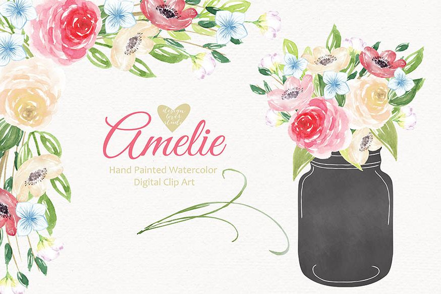 Watercolor hand painted purple bouquets clip arts example image 1