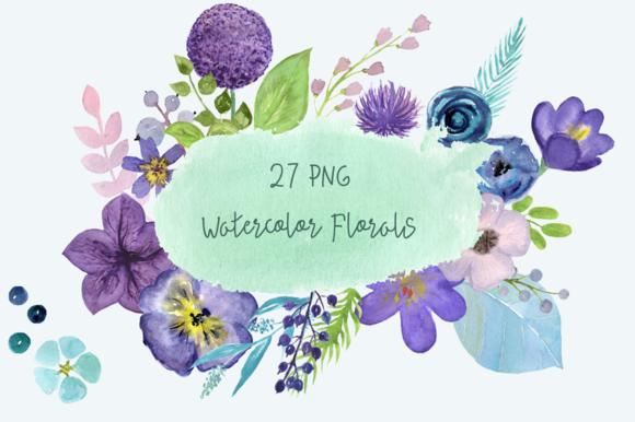 27 PNG Watercolor Florals Clip Art example image 1