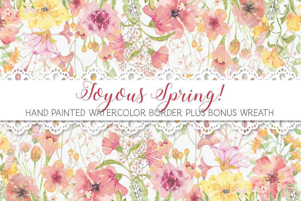 Watercolor border of joyful spring blooms example image 1
