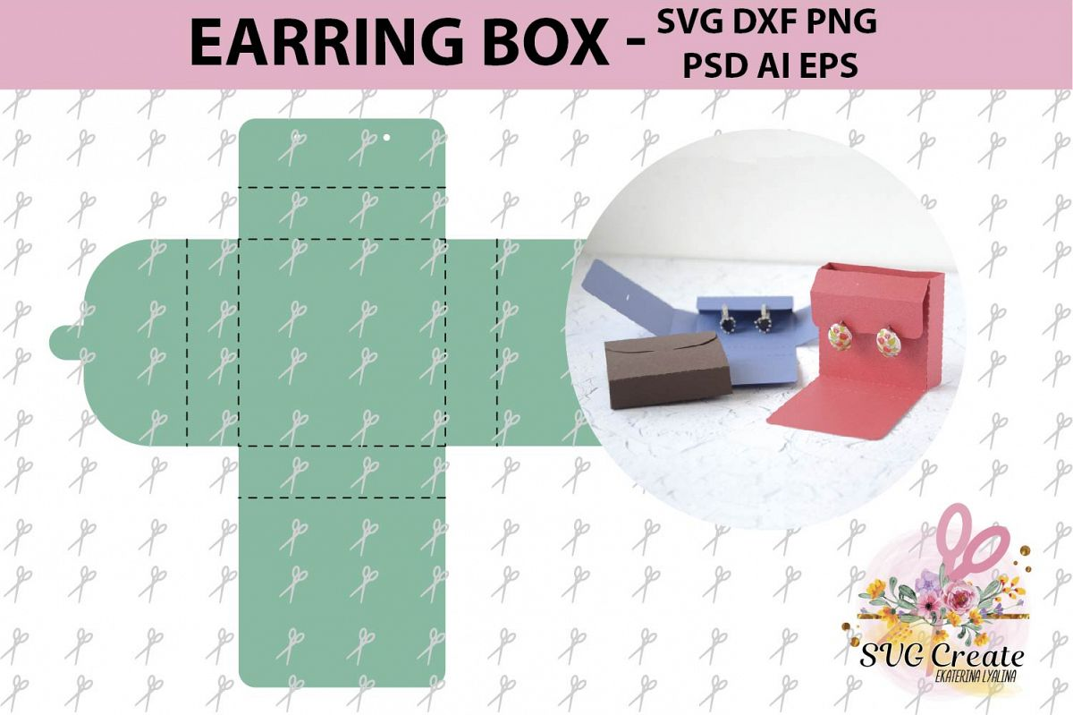 Earring Box Template Card Display Svg Jewelry Favor Print Example Image 1