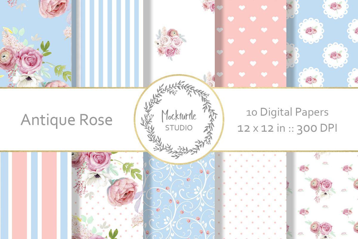 Antique Rose Floral digital paper example image 1