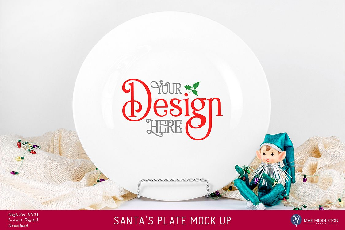 Christmas Mock up - Santa's Plate, Cookies for Santa example image 1