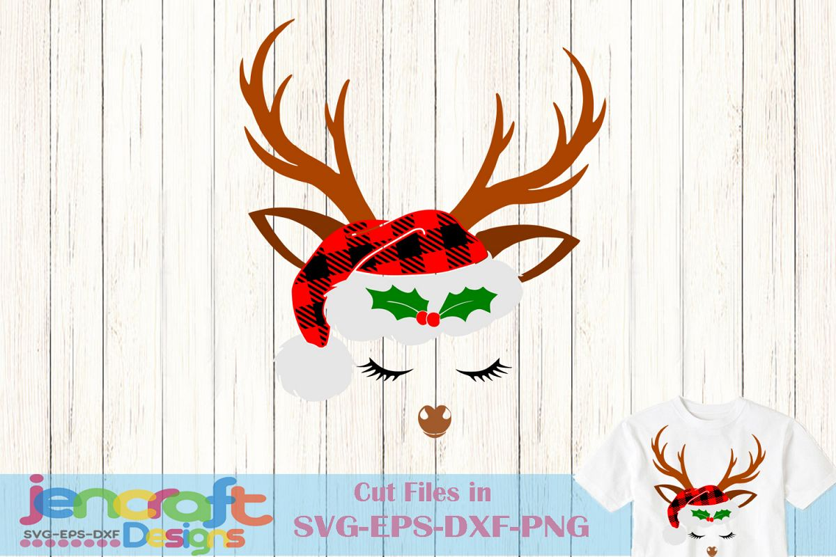 Reindeer SVG - Christmas Deer SVG Plaid Santa Hat Antlers example image 1