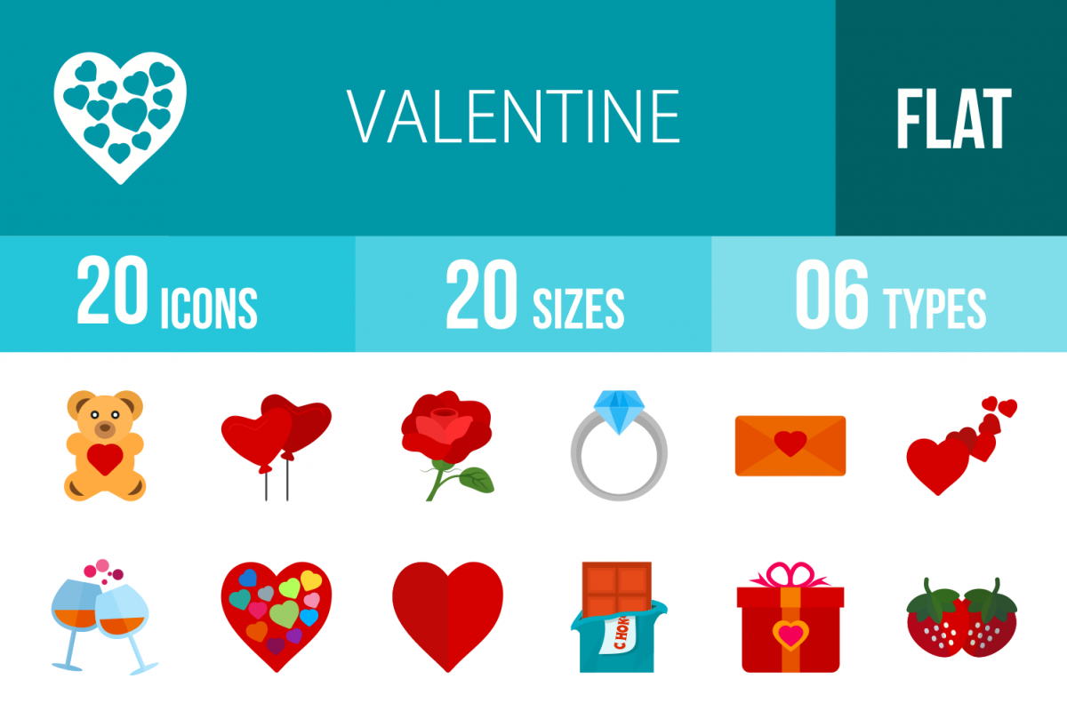 20 Valentine Flat Multicolor Icons example image 1