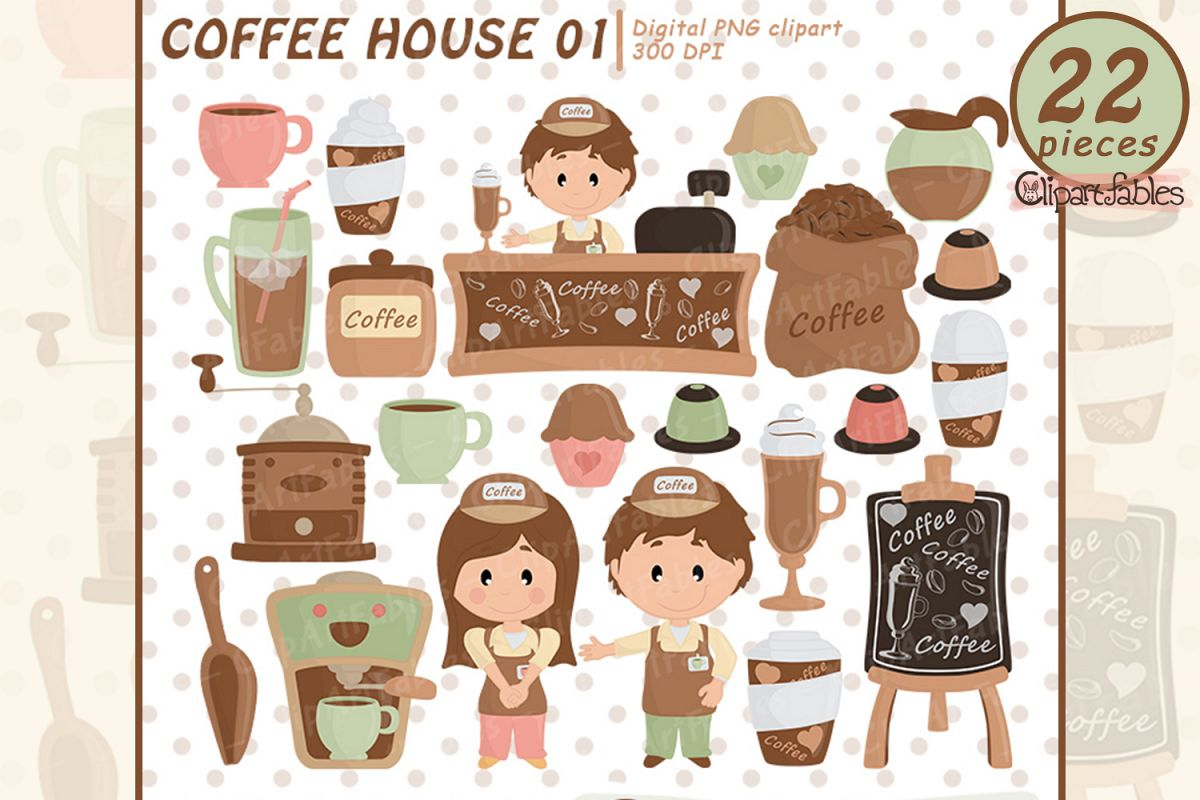 Coffee clipart, Coffee shop clip art, espresso, latte party example image 1