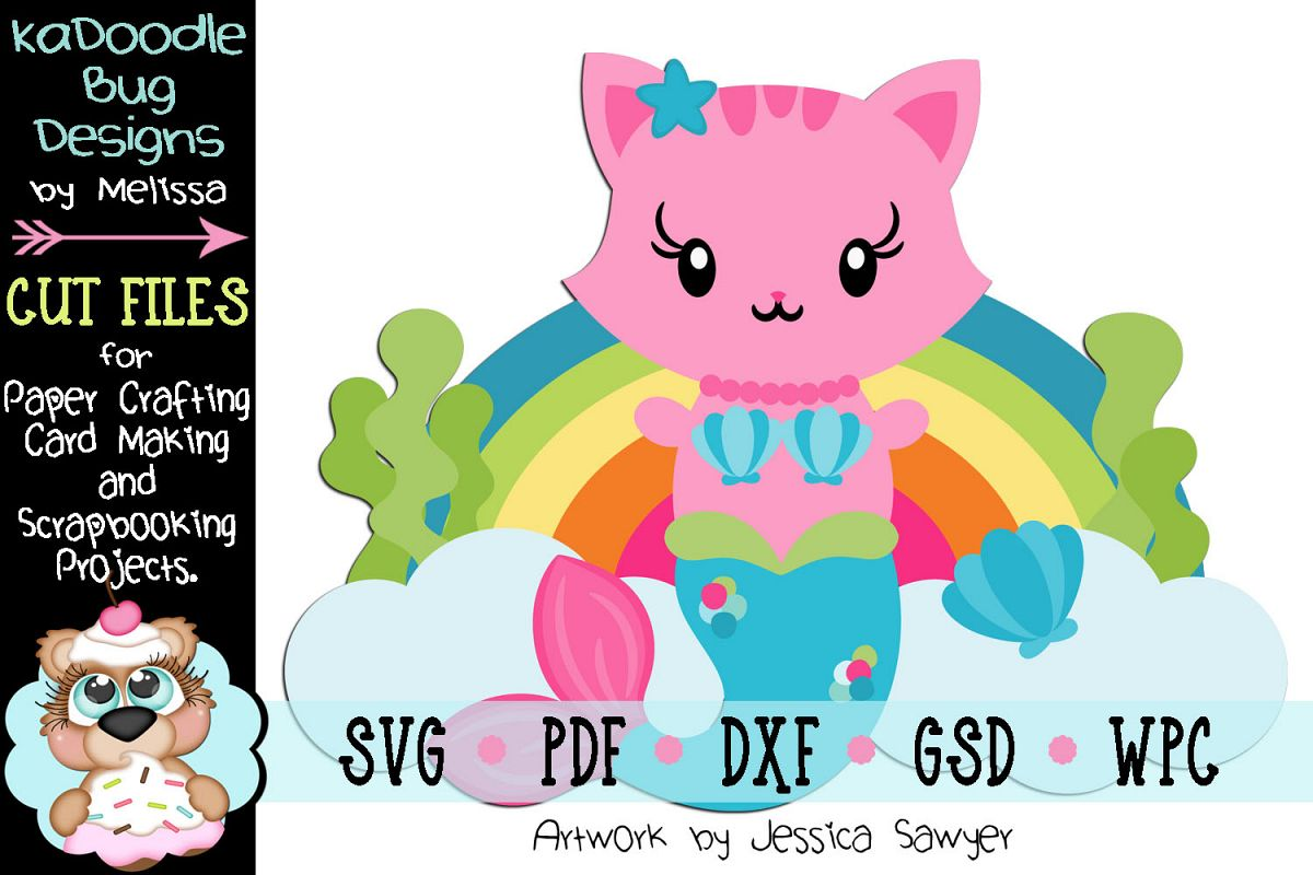 Underwater Rainbow Mercat Cut File - SVG PDF DXF GSD WPC example image 1