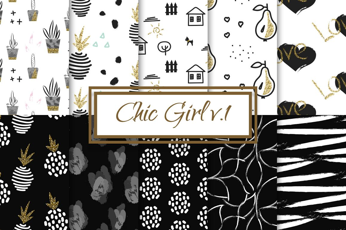 Chic Girl v1. - seamless patterns example image 1