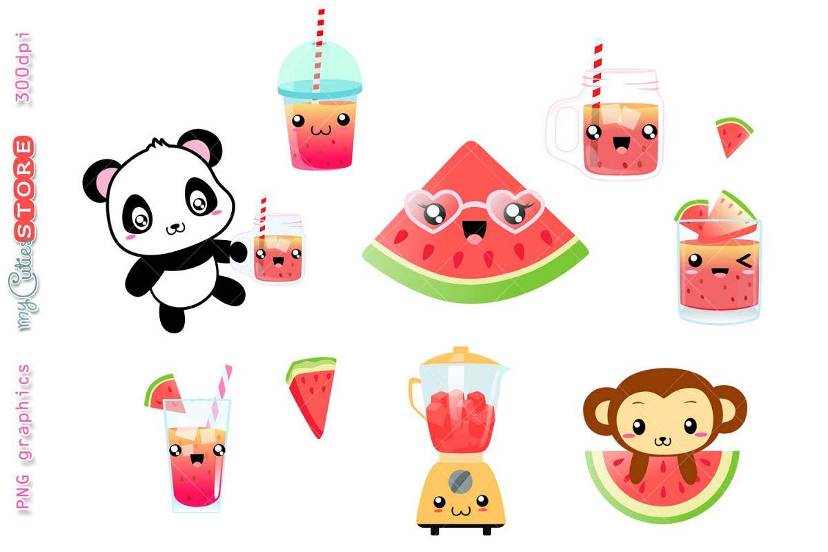 Summer kawaii. Watermelon cold drinks panda
