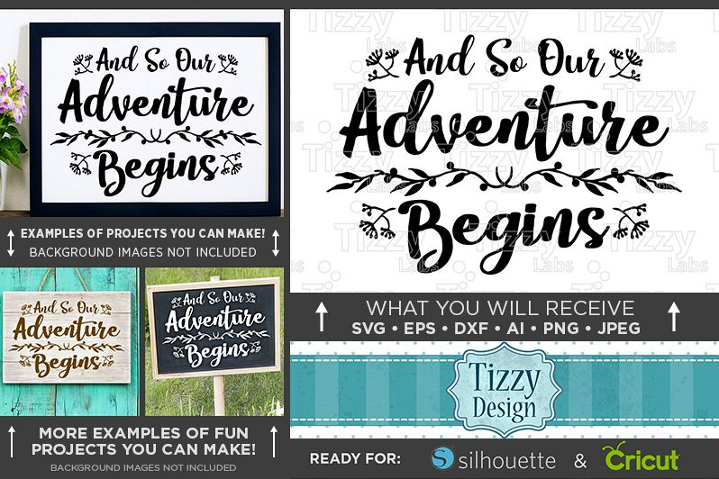 And So Our Adventure Begins SVG Wedding Sign - 5512 example image 1