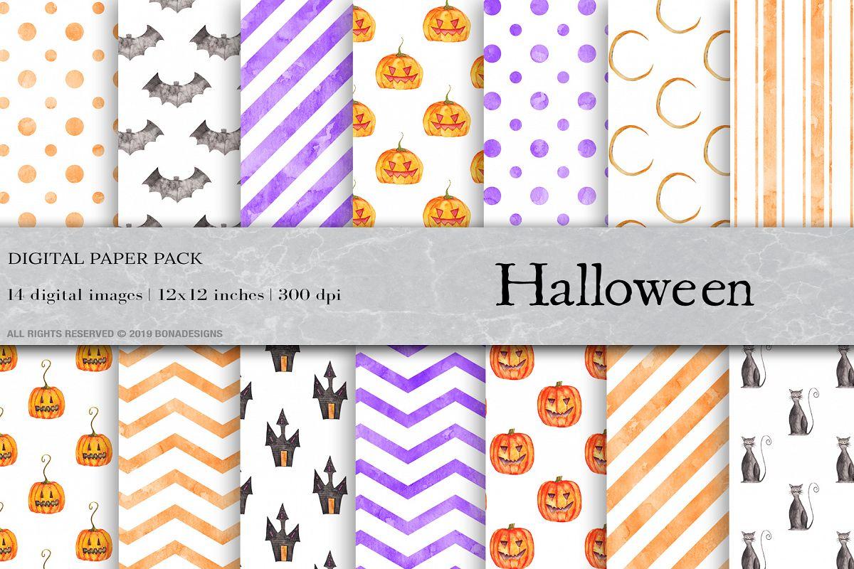 Watercolor Halloween Digital Papers, Halloween Patterns example image 1