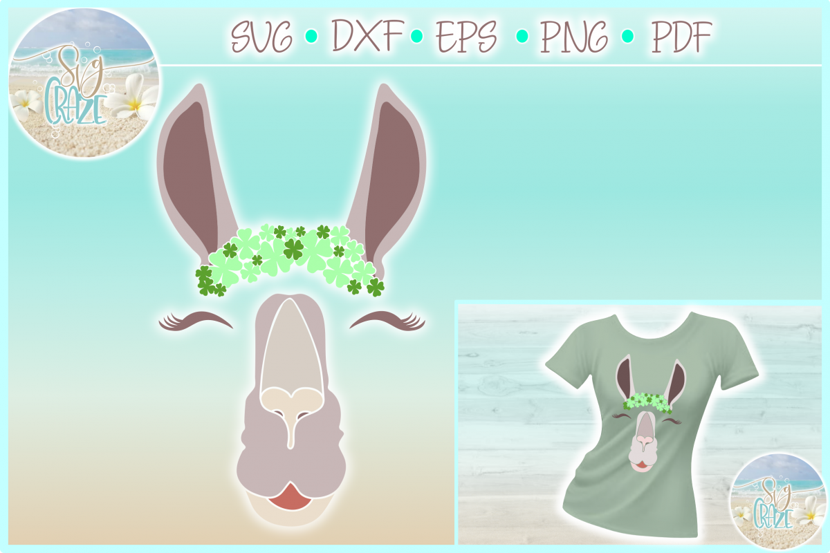 Llama Face With Clovers Eyelashes SVG Dxf Eps Png PDF example image 1