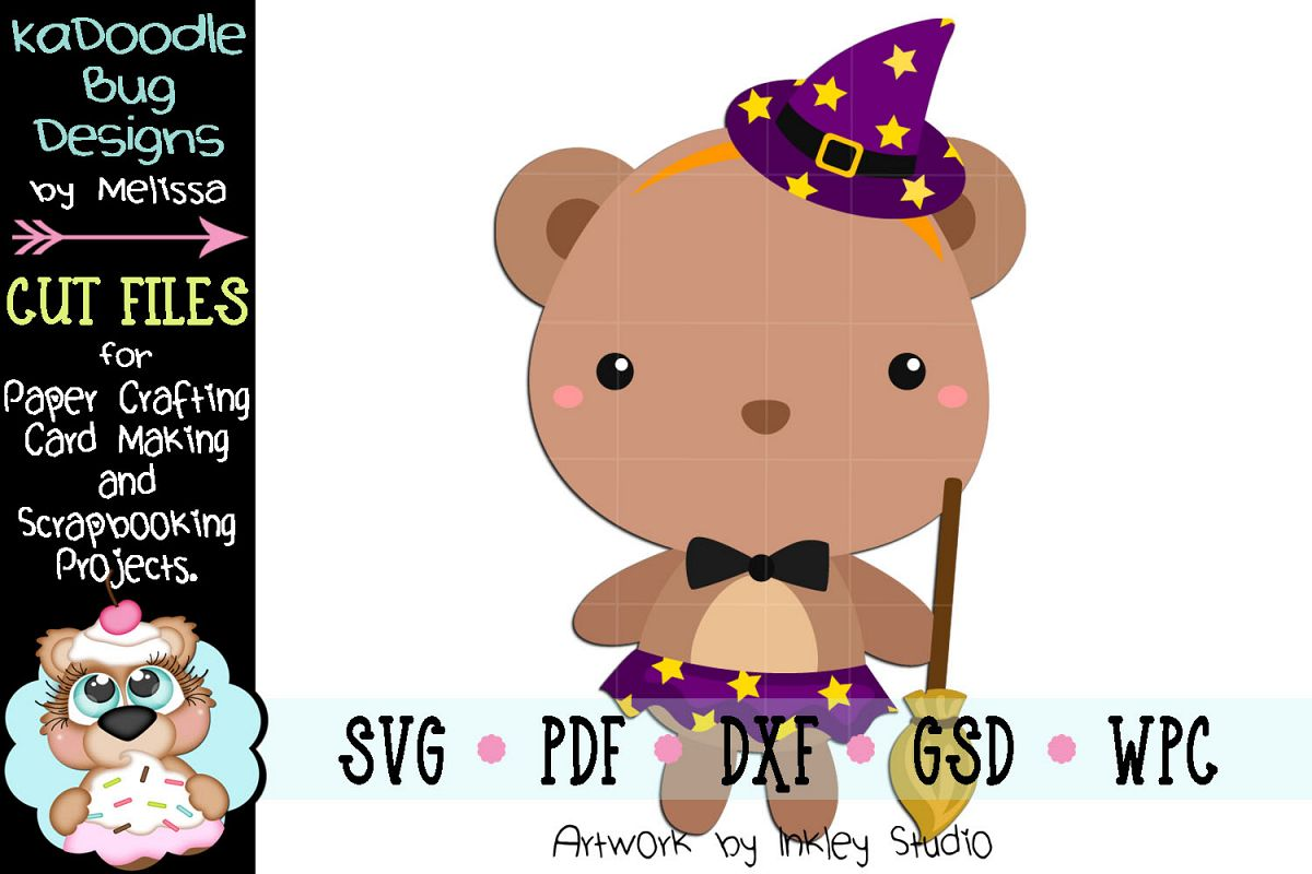 Halloween Witch Bear Cut File -SVG PDF DXF GSD WPC example image 1