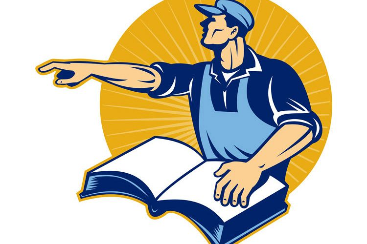 worker tradesman man read book pointing example image 1