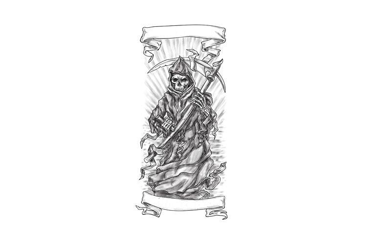Grim Reaper Scythe Ribbon Tattoo example image 1
