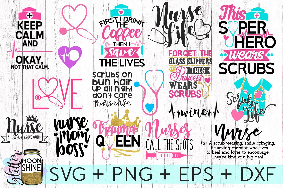Nurse Bundle SVG DXF PNG EPS Cutting Files example image 1