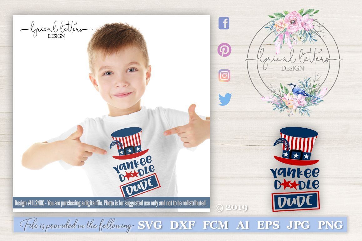 Yankee Doodle Dude Patriotic SVG DXF LL246C example image 1