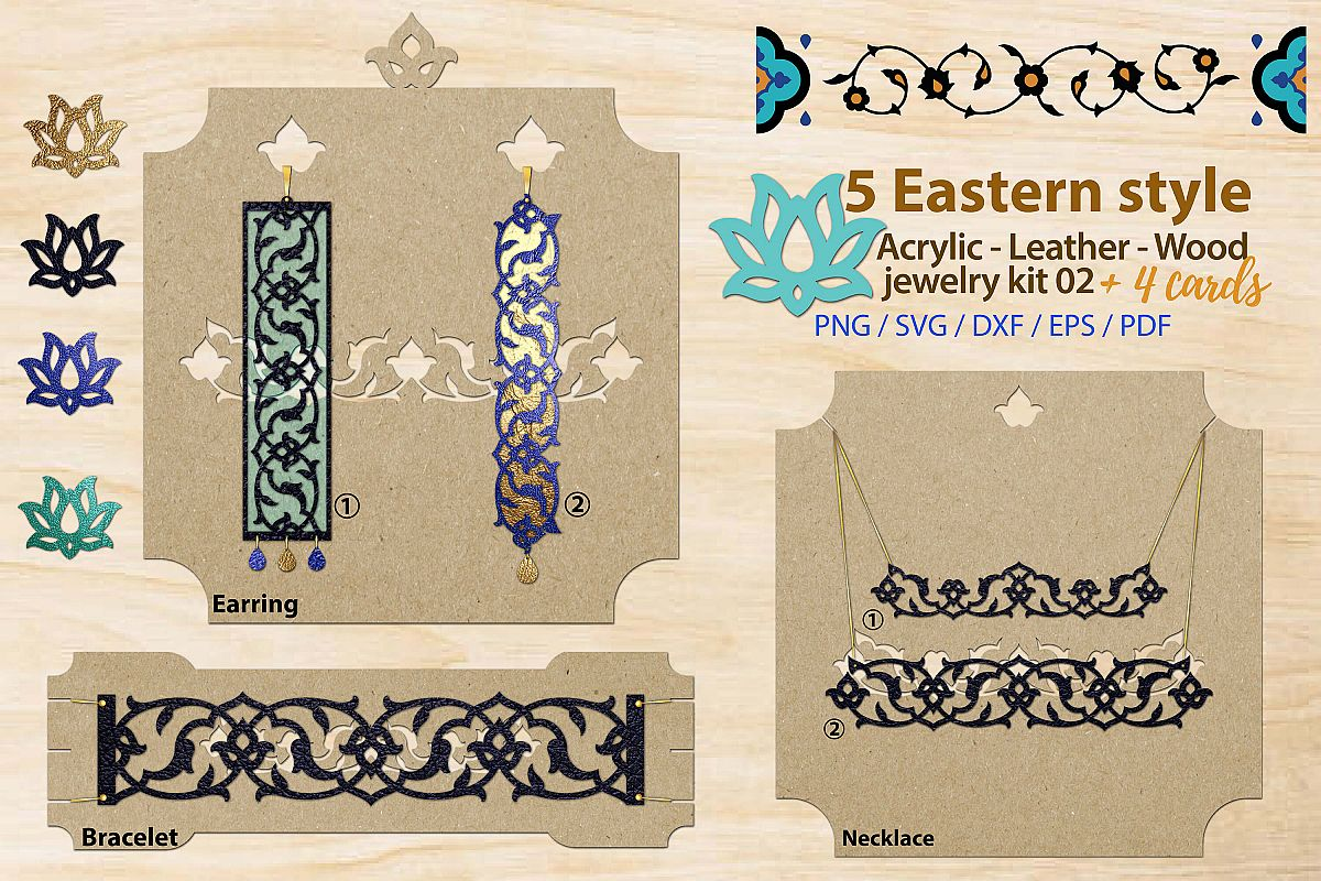 Eastern style acrylic leather wood jewelry kit 02 example image 1