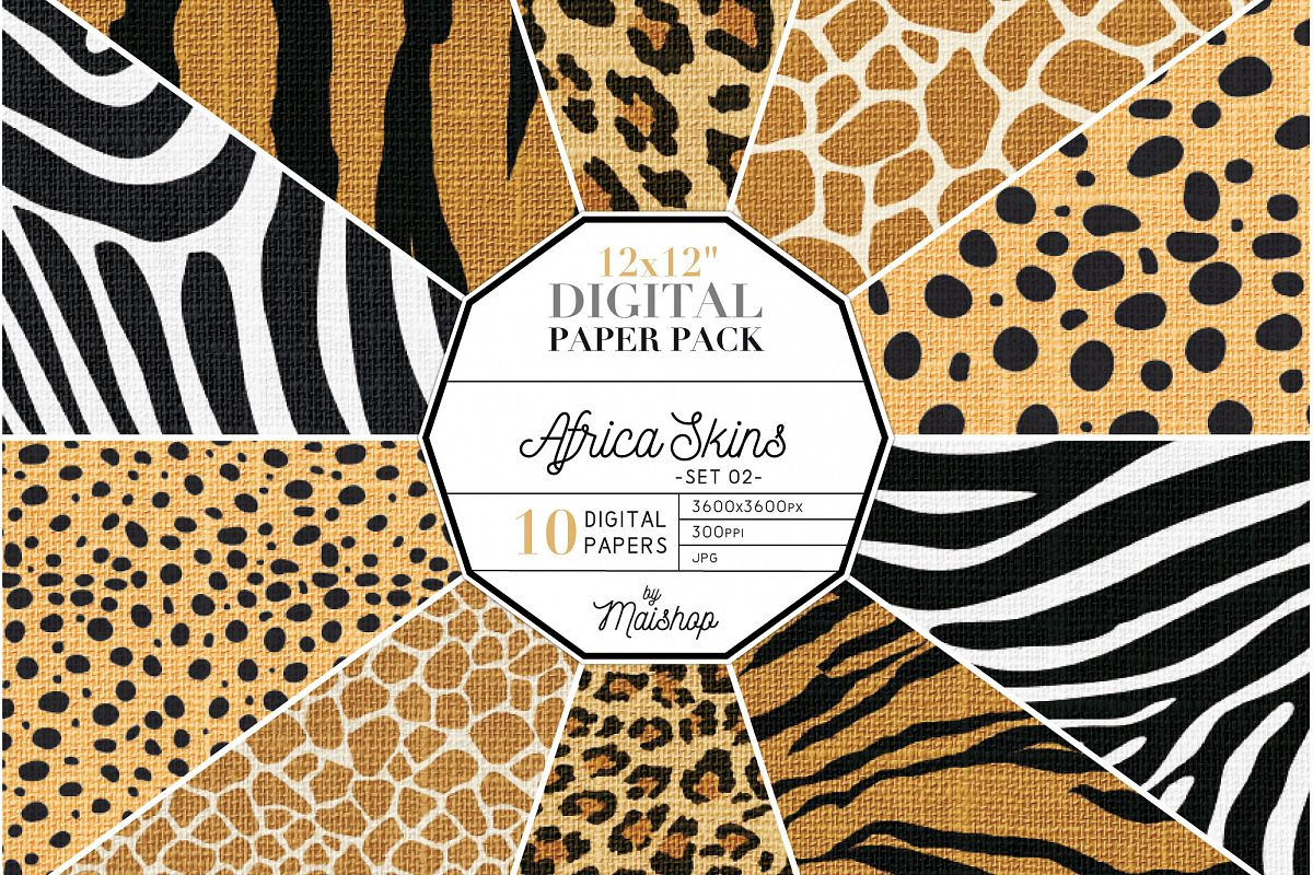 "Digital Paper Pack ""Africa Skins"" Set 02 example image 1"
