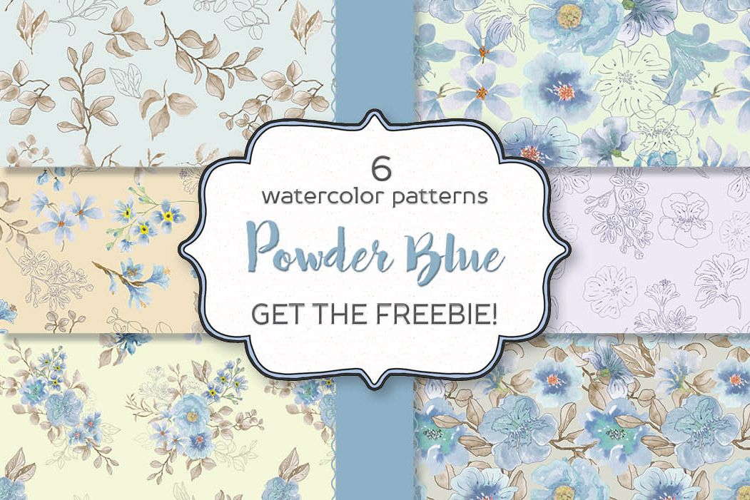 Powder blue watercolor floral patterns example image 1