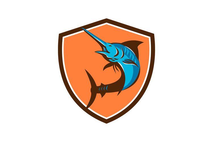 Blue Marlin Fish Jumping Shield Retro example image 1