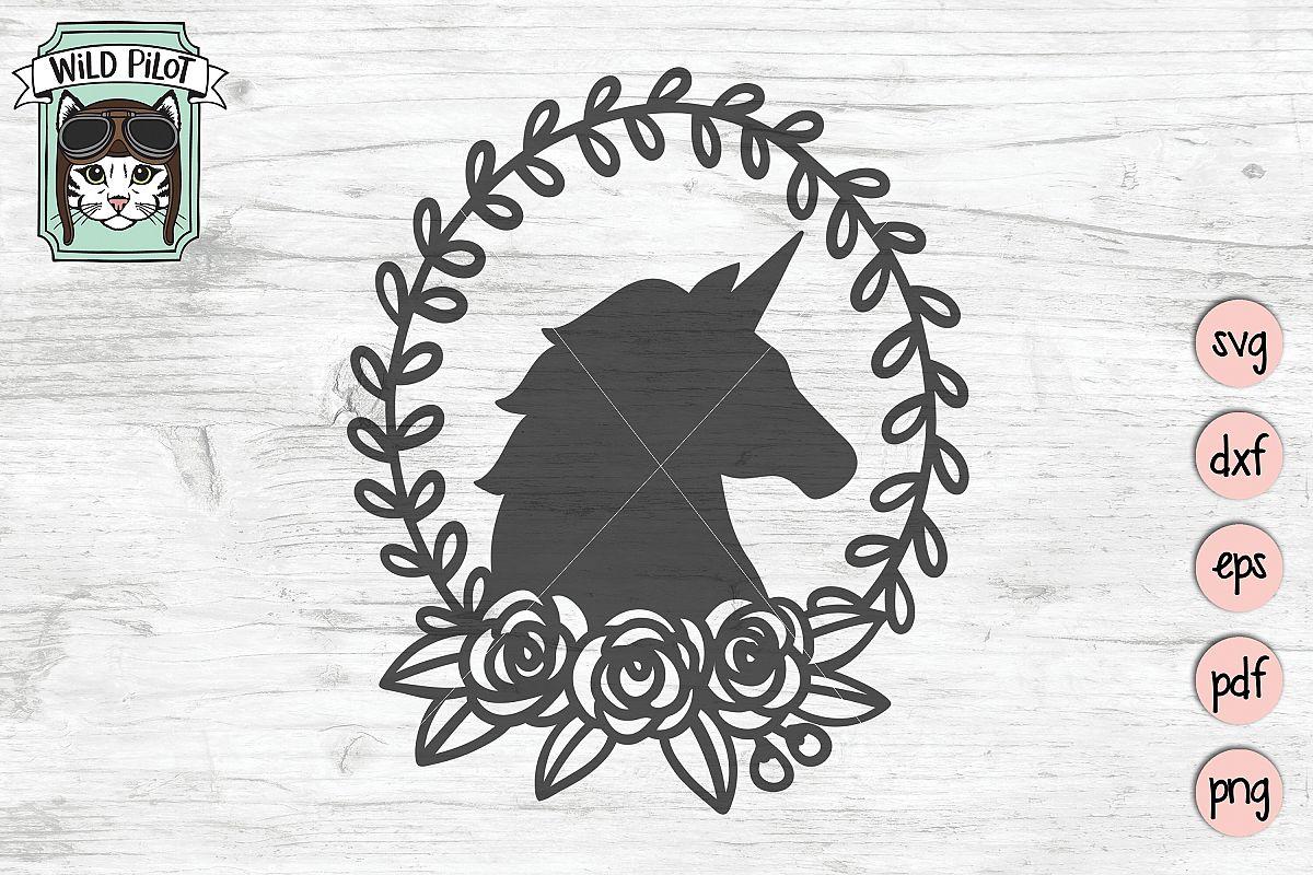 Unicorn SVG file, Unicorn Silhouette, Unicorn Wreath example image 1