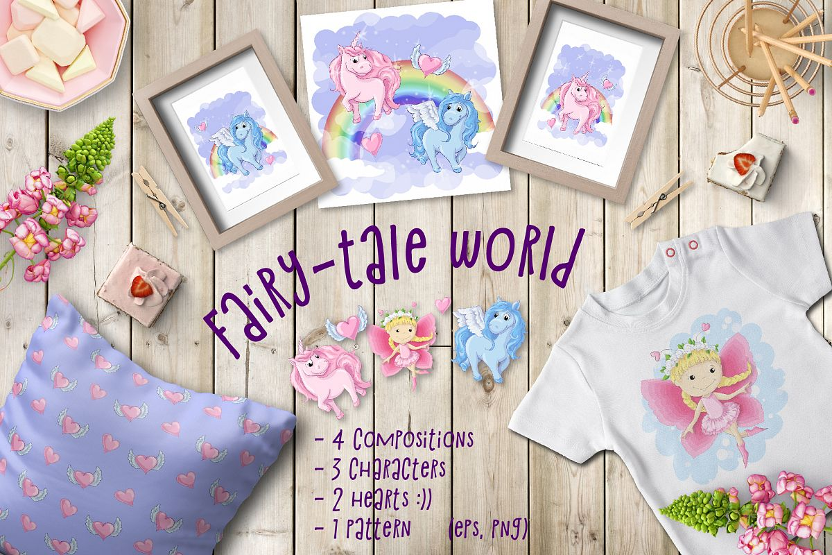 Fairy-tale world patterns, cards and items. example image 1