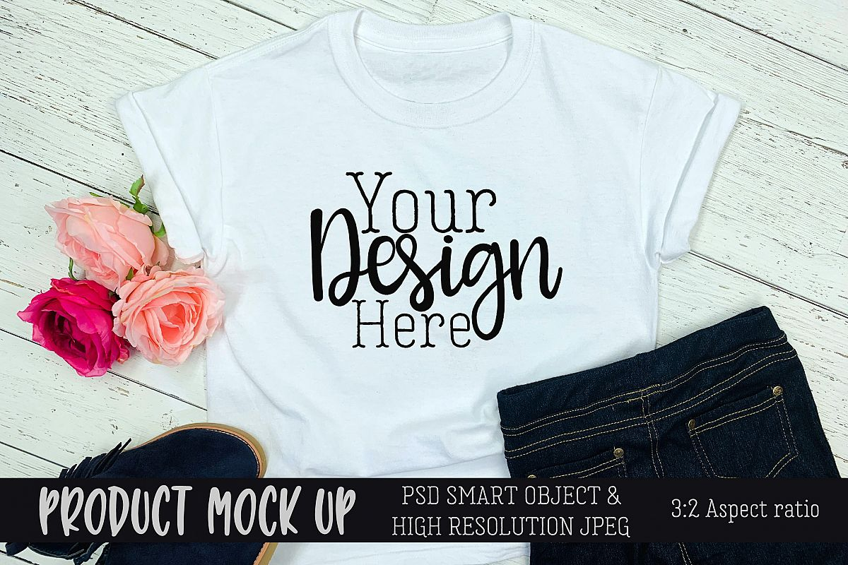 Girls white t-shirt jeans Craft mock up | PSD & JPEG example image 1