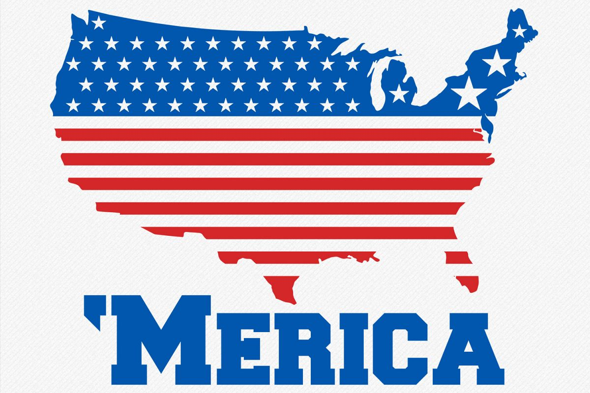 Merica SVG USA Flag, Fourth of July svg 4th of July Patriotic svg Cricut Files Silhouette T-Shirt Designs America svg Fourth of July  example image 1