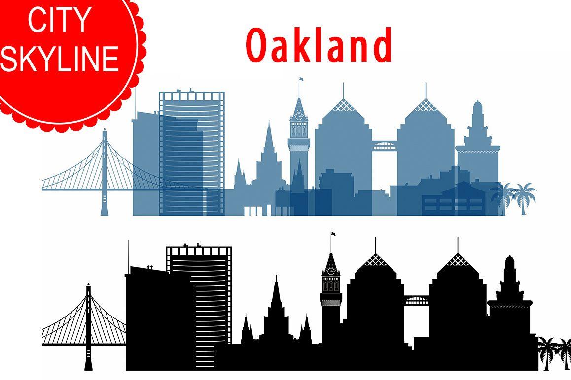 Oakland  Skyline Vector, California USA city, SVG, JPG, PNG, DWG, CDR, EPS, AI example image 1