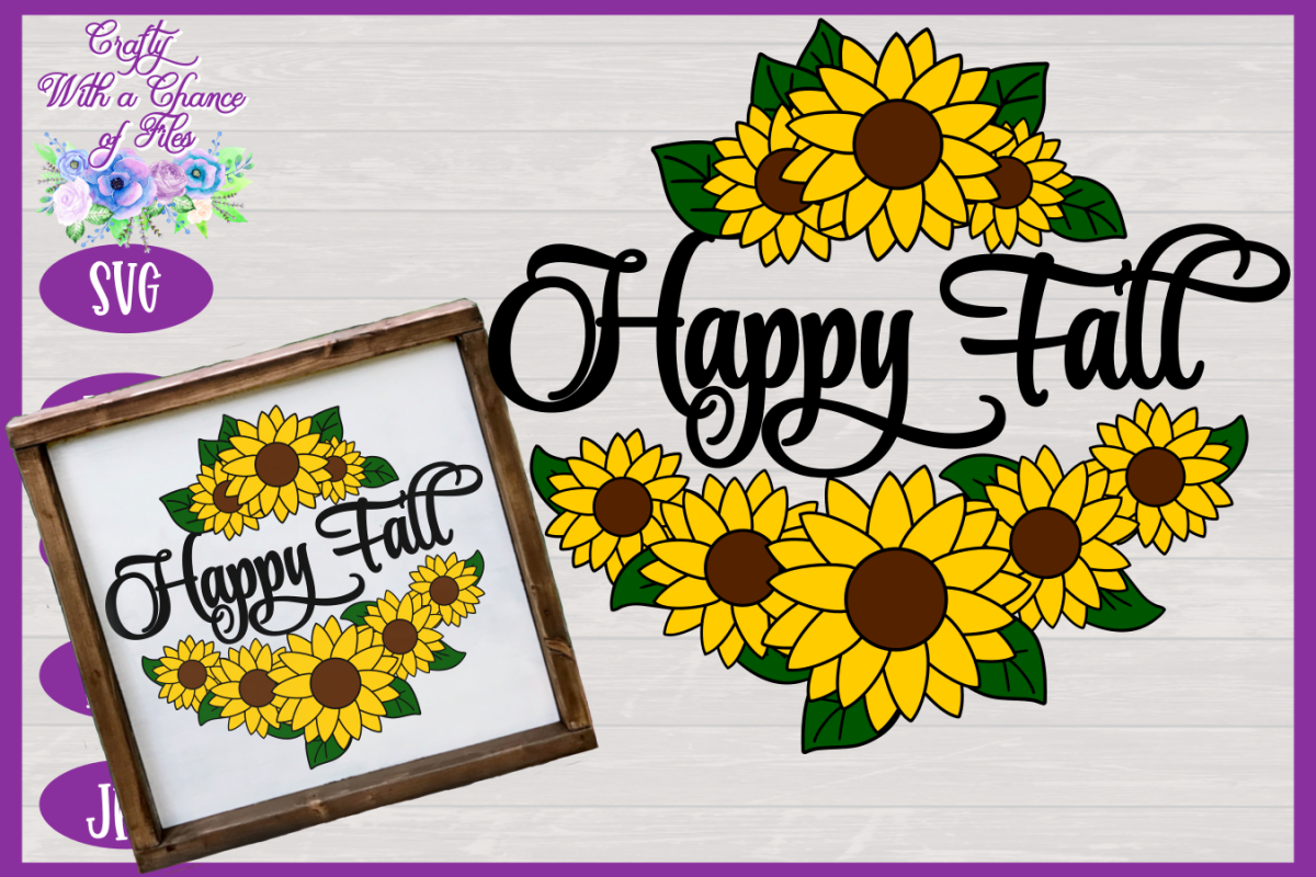 Happy Fall SVG | Autumn SVG | Sunflowers SVG | Fall SVG example image 1